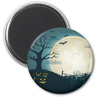 Graveyard with pumpkins, bats, dead tree, moon 6 cm round magnet