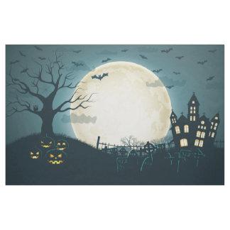 Graveyard with pumpkins, bats, dead tree, moon fabric