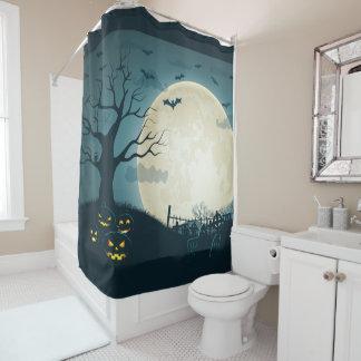 Graveyard with pumpkins, bats, dead tree, moon shower curtain