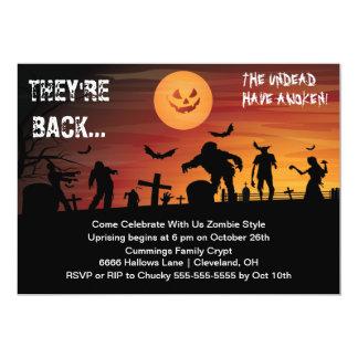 Graveyard Zombie Halloween Party Invitation