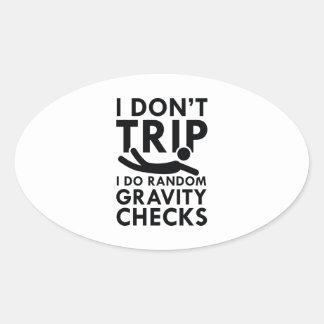 Gravity Checks Oval Sticker