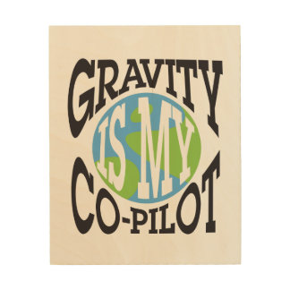 Gravity Is My Co-Pilot Wooden Sign Wood Canvas