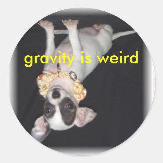 gravity is weird round sticker