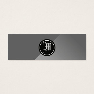 Gray Abstract and Monogram Mini Business Card