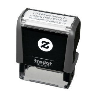 gray address contact information self-inking stamp