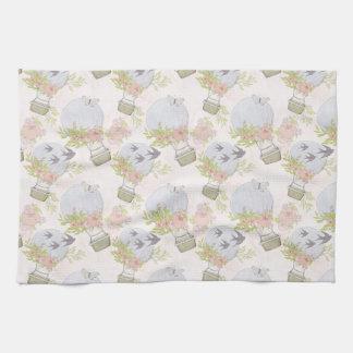 Gray Air Balloon Pattern Tea Towel