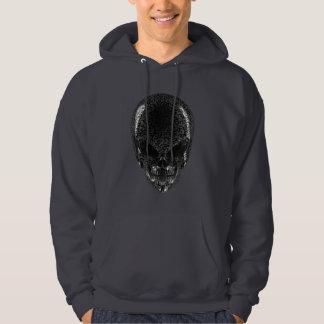Gray Alien Skull Dark Hoodie