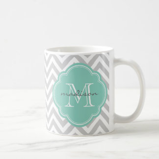 Gray and Aqua Chevron Custom Monogram Coffee Mug