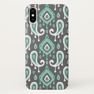 Gray and Aqua Ikat Paisley iPhone X Case