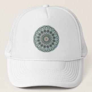 Gray and Aqua Mandala Art Trucker Hat