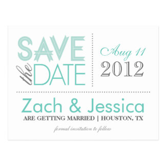 Gray and Aqua Modern Typography Save the Date Postcard