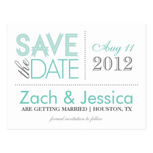 Gray and Aqua Modern Typography Save the Date Post Card