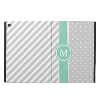Gray and Aqua Monogram Dots and Stripes Powis iPad Air 2 Case