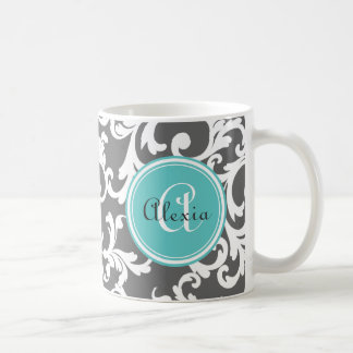 Gray and Aqua Monogrammed Damask Print Coffee Mug