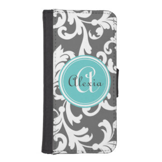 Gray and Aqua Monogrammed Damask Print iPhone SE/5/5s Wallet Case