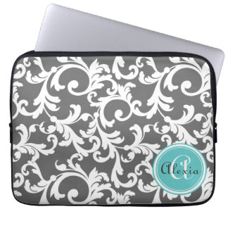 Gray and Aqua Monogrammed Damask Print Laptop Sleeve
