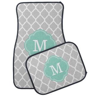 Gray and Aqua Moroccan Quatrefoil Monogram Car Mat