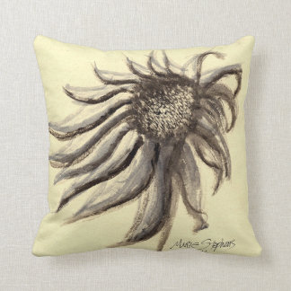 Gray and Beige Painted Flowers, Purple Coneflower Cushion