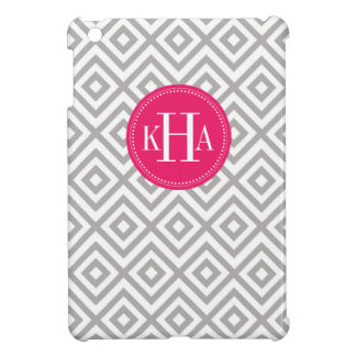Gray and Berry Pink Custom Full Monogram Pattern Cover For The iPad Mini