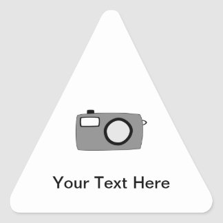 Gray and Black Camera. On White. Triangle Sticker