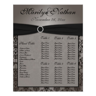 Gray and Black Damask Reception Seating Chart
