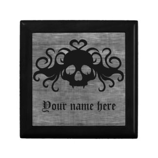 Gray and black goth fanged vampire skull gift box