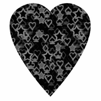 Gray and Black Heart. Patterned Heart Design. Photo Cutouts