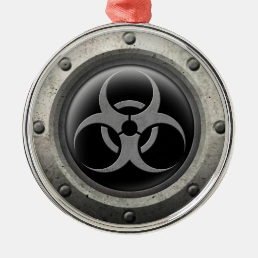Gray and Black Industrial Biohazard Steel Effect Christmas Ornaments