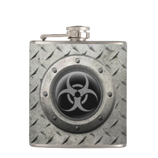 Gray and Black Industrial Biohazard Steel Effect Hip Flask