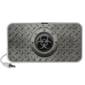 Gray and Black Industrial Biohazard Steel Effect Notebook Speaker