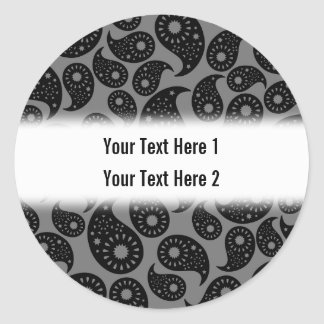 Gray and Black Paisley. Stickers