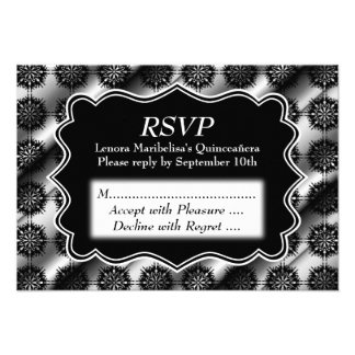 Gray and Black Pattern Print Quinceanera Invitations