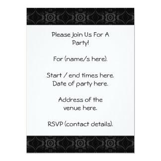 Gray and Black Stylish Flower Pattern. 17 Cm X 22 Cm Invitation Card
