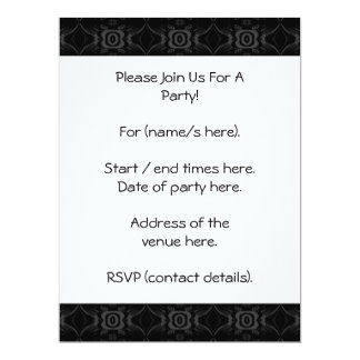 Gray and Black Stylish Flower Pattern. Custom Announcements