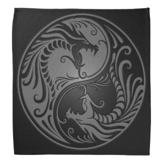 Gray and Black Yin Yang Dragons Bandana
