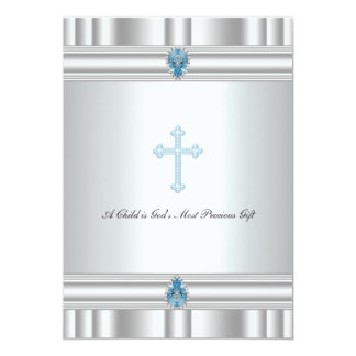 Gray and Blue Cross Boys Christening 5x7 Paper Invitation Card