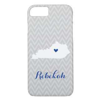 Gray and Blue Cute Kentucky Love Chevron Monogram iPhone 8/7 Case