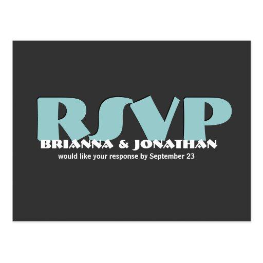 Gray and Blue RSVP Wedding Response Postcard