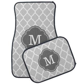 Gray and Charcoal Moroccan Quatrefoil Monogram Floor Mat