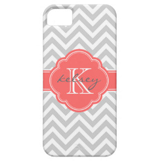 Gray and Coral Chevron Custom Monogram Barely There iPhone 5 Case