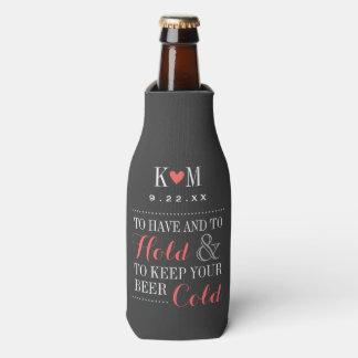 Gray and Coral Modern Wedding Monogram Bottle Cooler