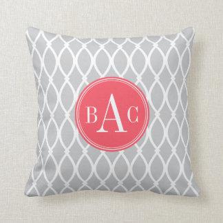 Gray and Coral Monogrammed Barcelona Print Cushion