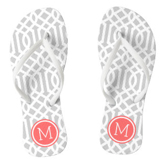 Gray and Coral Trellis Monogram Thongs