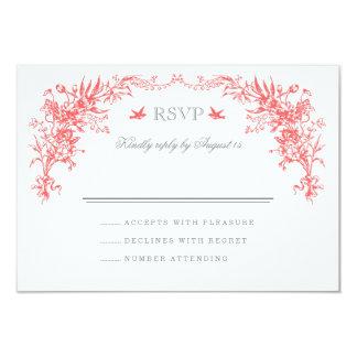 Gray and Coral Vintage Wedding RSVP Card 9 Cm X 13 Cm Invitation Card