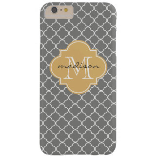 Gray and Gold Quatrefoil Custom Monogram Barely There iPhone 6 Plus Case