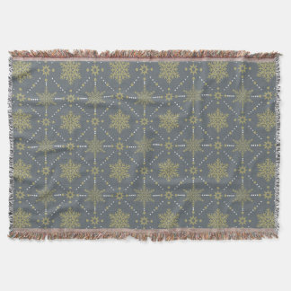 Gray and Gold Snowflakes Christmas Pattern Throw Blanket