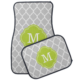 Gray and Green Moroccan Quatrefoil Monogram Car Mat