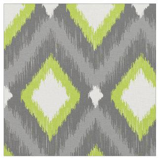 Gray and Green Tribal Ikat Chevron Fabric