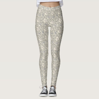 Gray and Ivory Bird Pattern Leggings