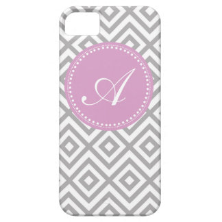 Gray and Lavender Customized Monogram Pattern Case For The iPhone 5